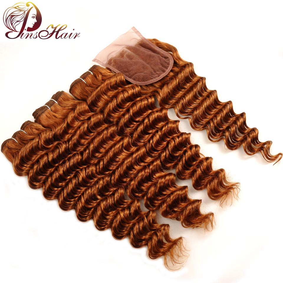 Pinshair Deep Wave 3 Bundles With Closure Blonde 30 Peruvian Human Hair Bundle With Middle Part Closure 10-26 Inch Non Remy Hair