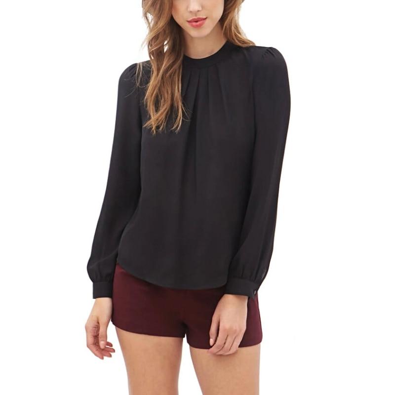 ROPALIA Feminina Women Elegant Chiffon   Blouses   Fashion   Blouse     Shirt   Casual Long Sleeve   Shirt   Ladies Work Office   Shirt