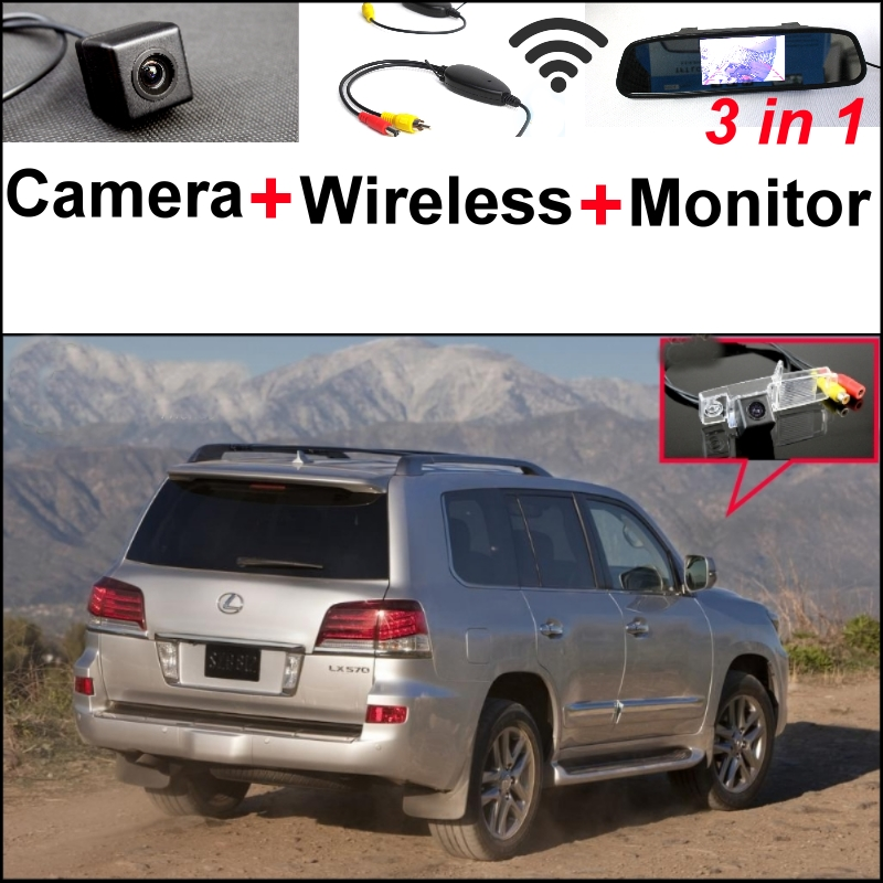Wireless Receiver + Mirror Monitor 3 in1 Easy DIY Backup Parking System + Special Rear View Camera For Lexus RX300 LX570 3in1 diy for lexus gx470 2002 2009 wireless wifi bluetooth backup rear view reverse rearview camera camara