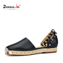 Donna-in Rope Sole Women Metallic Rivets Flats Natural Cowhide Leather