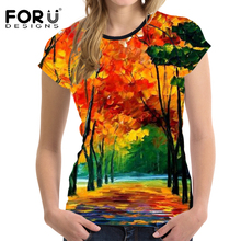 FORUDESIGNS T Shirt Women Oil Painting Leaves Printed T-shirt Teeangers Funny Summer Tops for Females Tree Pattern Tee