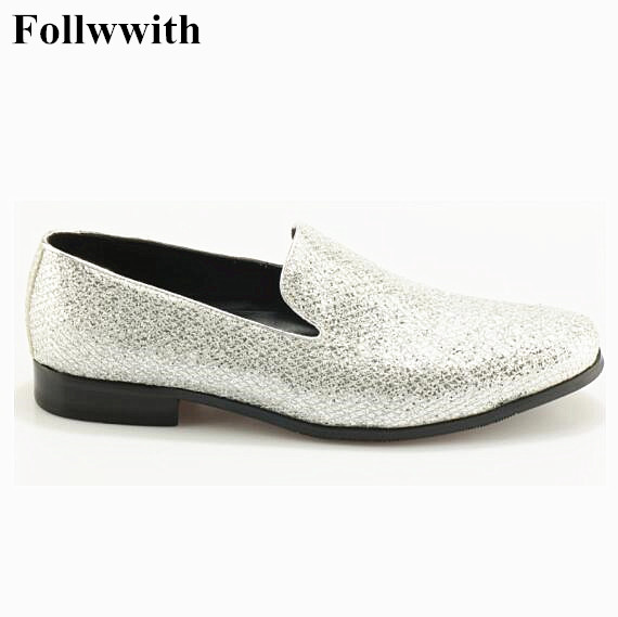Newest! Wedding Shoes Silver Glitter Slip On Men Dress Loafer Comfortable Flats Zapatos Round Toe Mens Prom Shoes Size 38-48