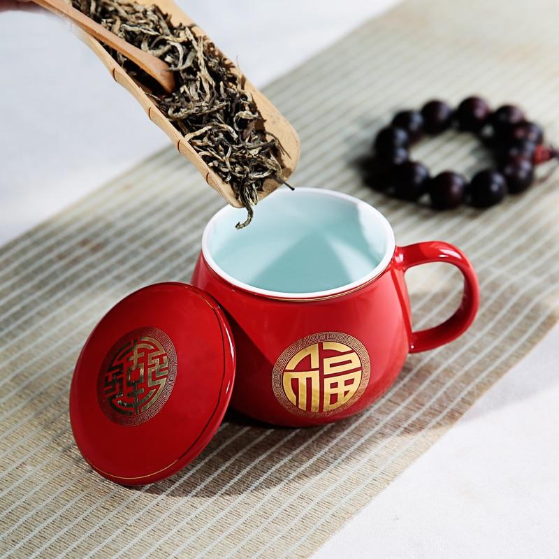 New Year Gift Apple Tea Mug and Cup Creative Good Luck Top Grade Ceramic Coffee Water Mugs Advance red Ceramic cup Drinkware