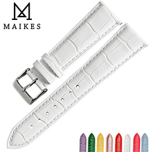 MAIKES Good quality watchbands white 14 16 18 20 22mm watch strap genuine leather watch band case for Tissot watch bracelet все цены