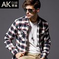 AK CLUB Brand Shirt New Thickening Plaid Shirt 100% Cotton 0.5kg Shirts For Men Flannel Twill Classic Men Shirt Casual 1302002