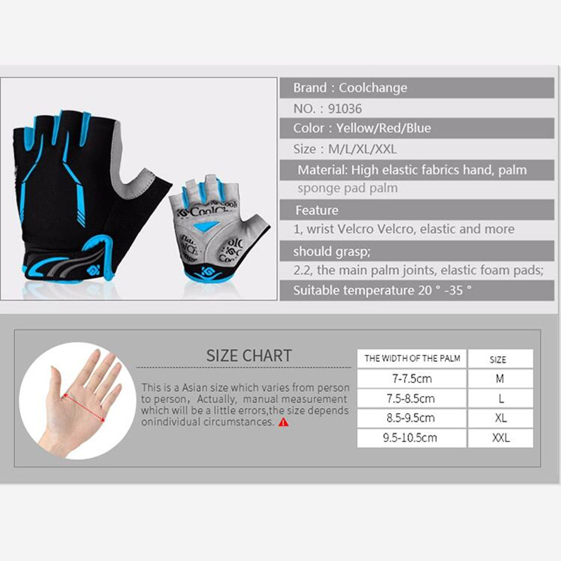 Купить с кэшбэком CoolChange Summer Half Finger Cycling Gloves with Breathable Palm Road Mountain Bike MTB Gloves with Padded Parkour Sport Gloves