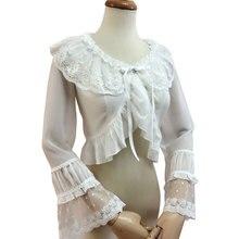 甘い白ロリータブラウス女の子のロングフレア袖すくめトップ三色(白、ベージュ、黒)