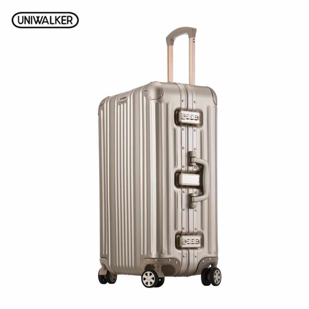 UNIWALKER унисекс 18 20 25 дюймов Чемодан чистый Алюминий сплава подвижного  чемодан Hardside багажа дорожные сумки 332b94c489e