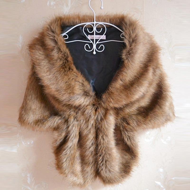 Women Winter Faux Fur Wrap for Dress White Black Champagne One Size Bridal Accessories Wedding Bolero Winter Wedding Coat