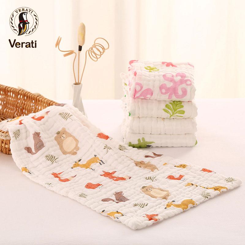 VERATI 110*110CM Six Layers Gauze Cotton Baby Bath Towel Newborns Breathable Swaddling Towel Soft Blanket For Child toalla V036
