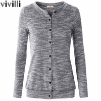 Women Casual High Quality Soft Knit Tops Solid Round Neck Long Sleeve Sweatshirt With Button