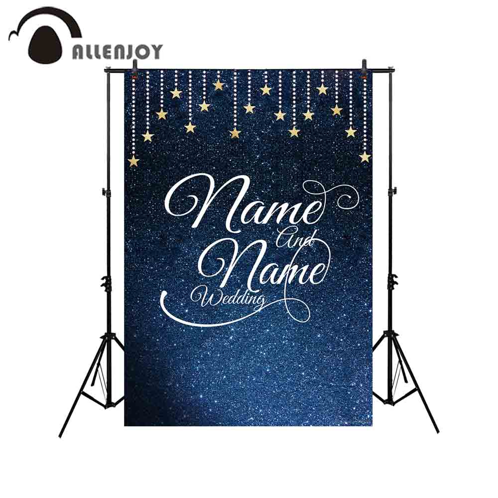Us 972 30 Offallenjoy Backdrop Photography Navy Blue Night Sky Stars Custom Name Wedding Photocall Backgrounds Wallpaper Camera Photophone In