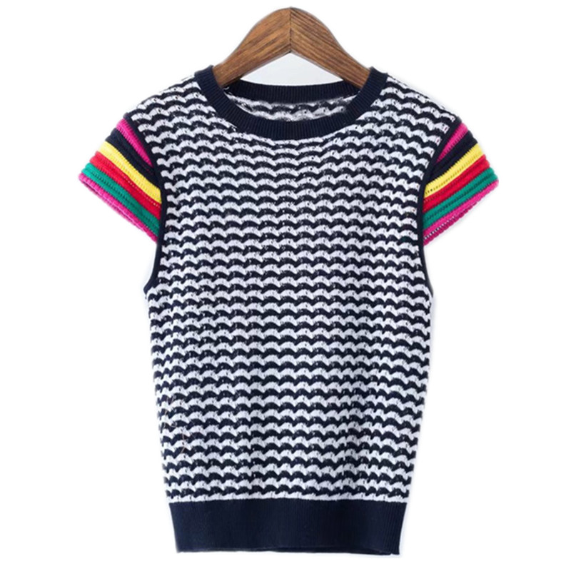 Women Vogue T shirt Elegant Rainbow Striped Knitted T shirt Short Sleeve O neck Basic Tees Ladies Casual Chic Tops Camisetas