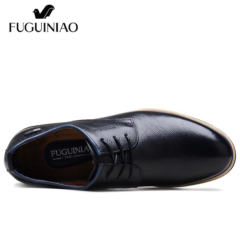 Hiver couleur 38 En Chaussures Fuguiniao Mode Véritable 44 Livraison Gratuite Robe Foncé taille Chaud Cuir Bleu D'affaires Chaussures Noir qrna8p7q