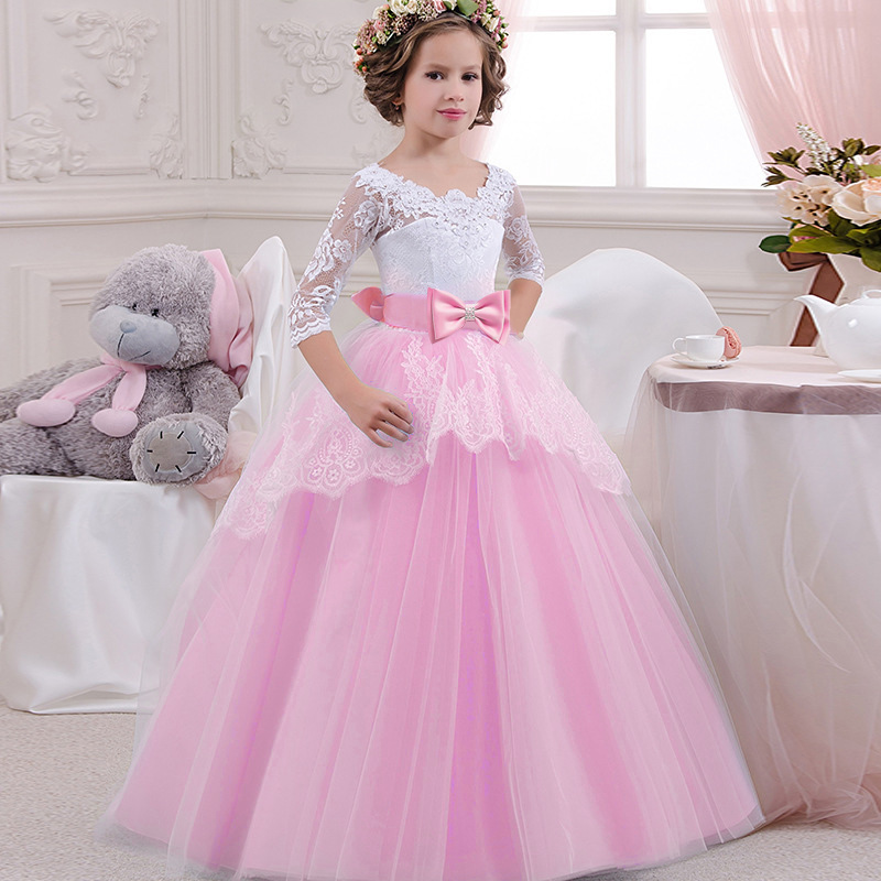 Big Bow Girl Flower Dress Children Party Dress Girl First Communion Dress Princess Ball Gown Pageant Costume Vestido Comunion