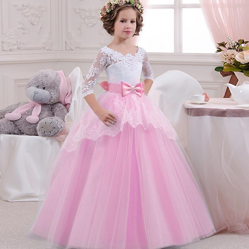 Big Bow Girl Flower Dress Children Party Dress Girl First Communion Dress Princess Ball Gown Pageant Costume Vestido Comunion