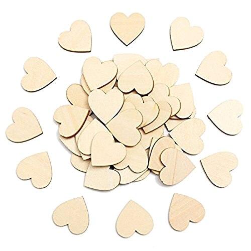 NOCM-50 pièces vide bois coeur décorations pour le BRICOLAGE artisanat, principal décoration 6 cm