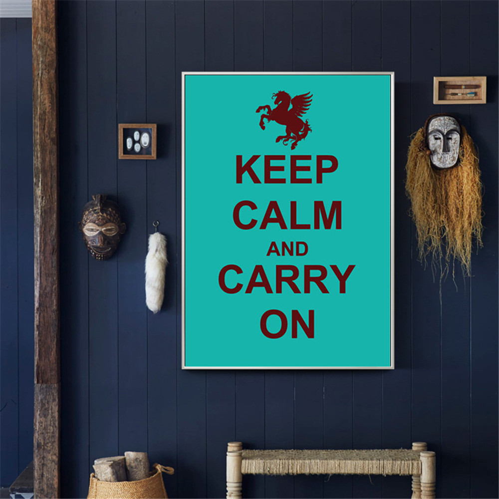 Keep Calm and Carry On World Second World War Vintage Canvas Poster Home Decor Quadros D ...