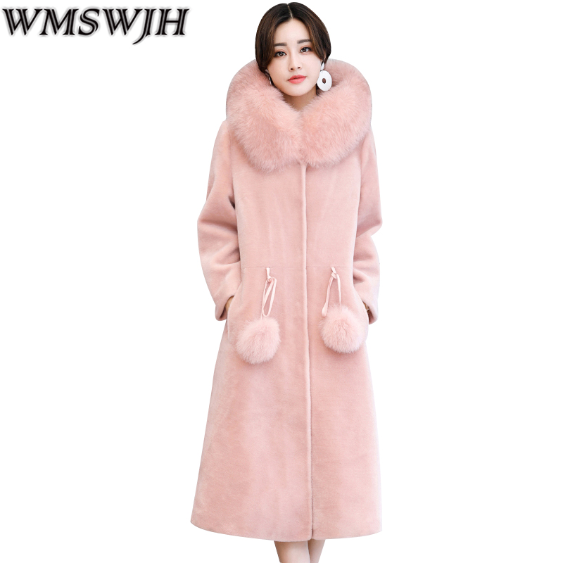 2017 New High Grade Women Winter Coat Fashion Warm Jacket Female Fur Collar Hooded Temperament Jacket Medium-long Plush Coat