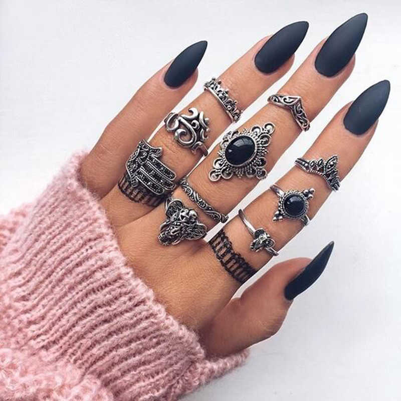 Tocona Vintage Antique Silver Punk Black Opal Elephant Ring Set for Women Carved Finger Rings Party Beach Rings 10pcs/set 4561
