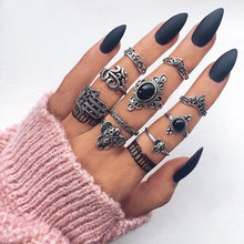 Tocona Vintage Antiek Zilver Punk Black Opal Olifant Ring Set voor Vrouwen Gesneden Vinger Ringen Party Beach Ringen 10 stks/set 4561(China)
