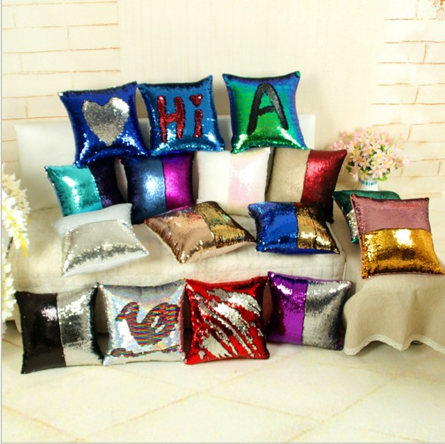 Sequin Mermaid Pillow Magical Color Changing Reversible Sequin Throw Pillow Home  Decor Cushion Decorative Throw