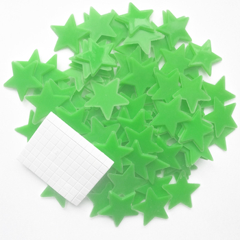 50pcs 3D Stars Luminous In The Dark Glow Stickers Fluorescent Pvc Wall Art Home Decals For Kids Room Ceiling Wall Decoration - Green