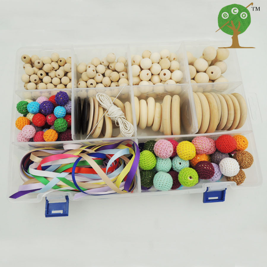 Bricolage set boîte de bébé soins infirmiers accessoire anneaux en bois crochet perles pour soins infirmiers collier, dentition bijoux fabrication collier WC009