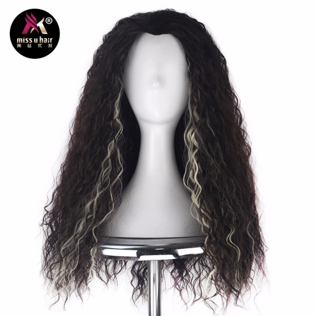 Miss U Hair Men Synthetic Long Kinky Curly Brown With Blonde Strips Strands Highlight Two