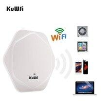 KuWFi 300Mbps راوتر لاسلكي داخلي سقف نقطة الوصول عالية الأداء داخلي موزع إنترنت واي فاي نقطة وصول لاسلكية مع 48 فولت POE
