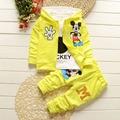 Nova Chidren Crianças Meninos Conjunto de Roupas de Outono Inverno 3 Peça Define Ternos Casaco Com Capuz Outono Do Bebê Do Algodão Meninos Roupas Mickey
