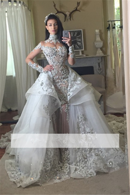Silver Vestido De Noiva 2019 Muslim Wedding Dresses Mermaid Long Sleeve  Lace Crystals Dubai Arabic Wedding Gown Bridal Dresses 461e58ce4ed6