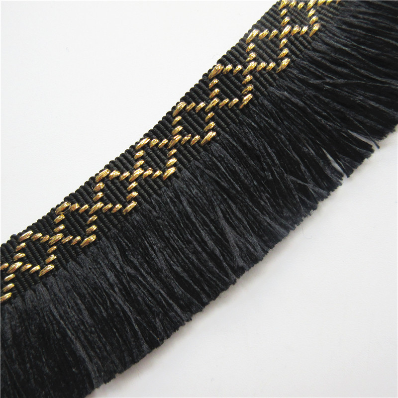 1 Meter 35mm Black Cotton Tassel Fringe Lace Edge Trim Ribbon Fabric Embroidered Applique Sewing Craft Wedding Dress Clothes DIY
