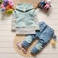 IAiRAY 3 pcs da roupa do bebê roupas de menina definir luz azul meninos hoodies camiseta crianças calças de manga longa preto e branco camisa
