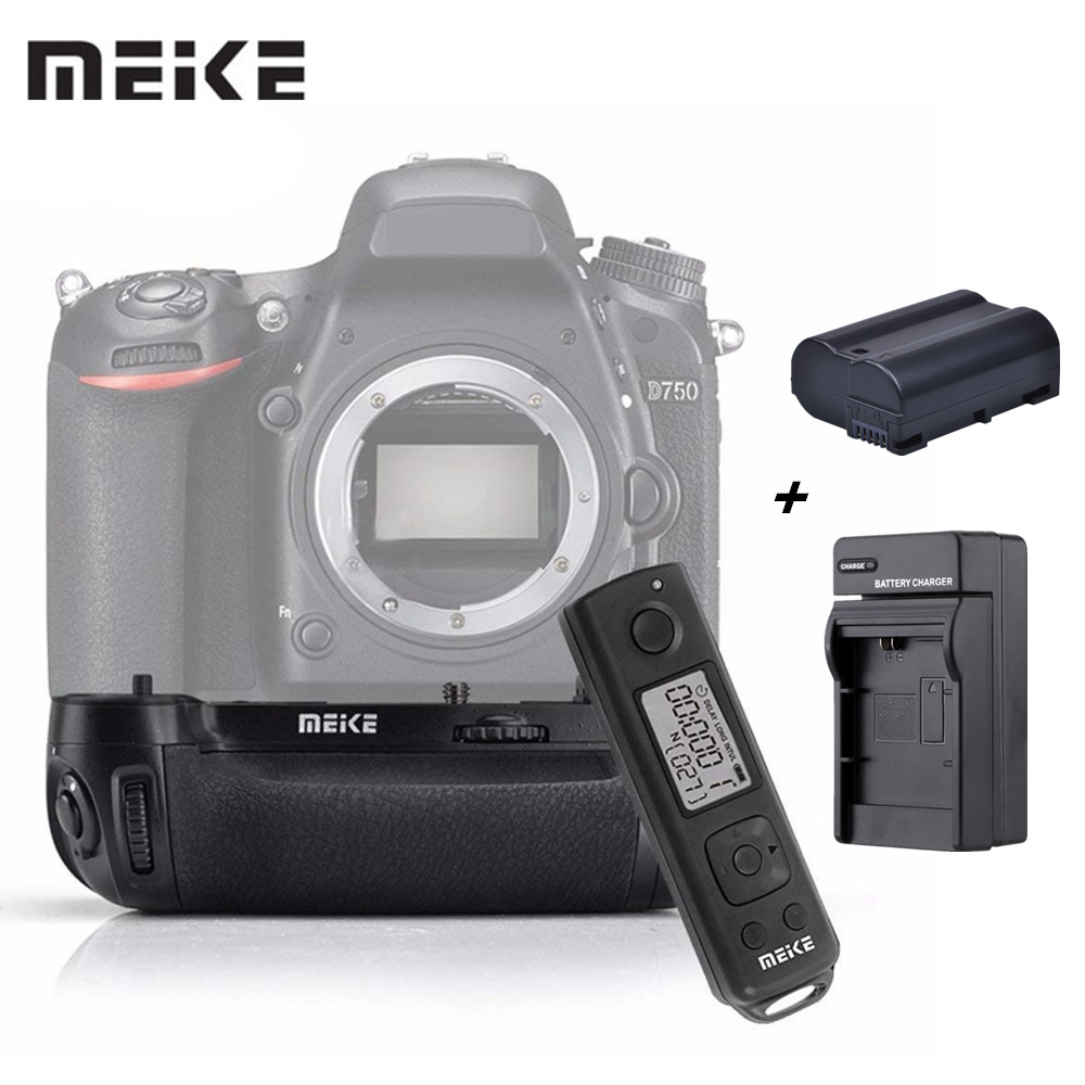 Meike MKDR750 MK-DR750 Built-in 2.4G Wireless Remote Control Vertical Battery Grip Holder for Nikon D750 Lithium Battery EN-EL15 meike mk 760d pro built in 2 4g wireless control battery grip suit for canon 750d 760d as bg e18