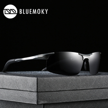 BLUEMOKY Sports Goggle Sun Glasses for Men Polarized UV400 Sunglasses Male Aluminum Magnesium Driving Polaroid Shades for Men