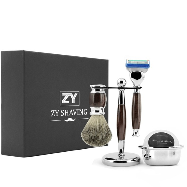 ZY Men Luxury Shaving Set Safety Blade Razor Badger Hair Shave Beard Brush Razor Stand Holder Soap Bowl Best  Valentine's Day