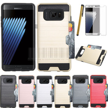Shipped From US, Phone Case For Samsung Galaxy Note 7 With Films+Stylus Dual Layer Armor Hybird Brush Card Holder Rugged Cover