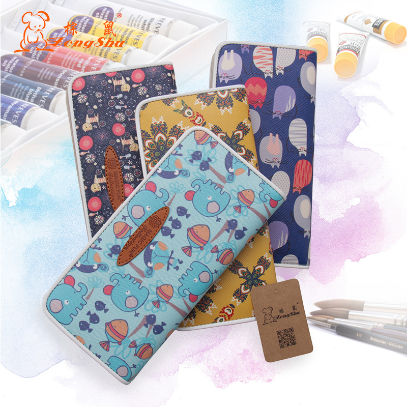 Womens Long Style Cartoon Cat Elephant Wallet Cartoon Genuine Leather buckle Purse Girls Wrapped edge Card Holder sketching bag