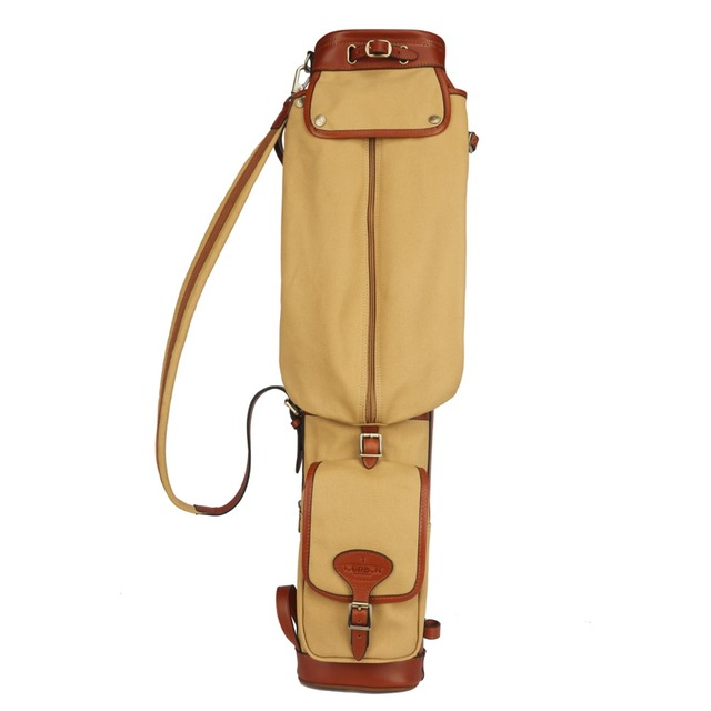 Tourbon Vintage Golf Club Carry Bags Travel Case Canvas And Leather Pencil Style Gun Carrier