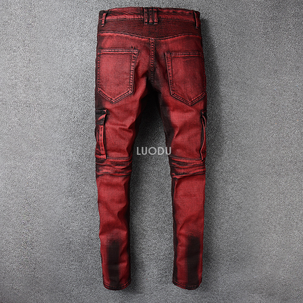 Mens New Ripped Distressed Biker Ribbed Skinny Jeans Pants Bottoms