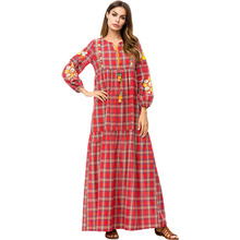 European And American Simple Loose Plaid Embroidery Stitching Dress Factory Wholesale