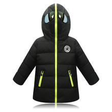 3-12Y Kids Thickened Cotton Coat Teen Hooded Black Clothing
