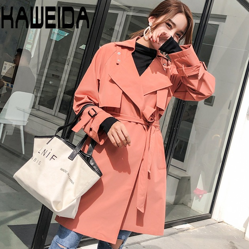 1PC   Trench   Coat For Women Double Breasted Slim Fit Long Spring Coat Casaco Feminino Abrigos Mujer Autumn Outerwear Dropship