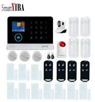 Smartyiba дом интеллектуальные diy Беспроводной gsm WI FI сигнализации видео ip Камера пожарной сигнализации дыма Наборы для дома Охранной Сигнализа