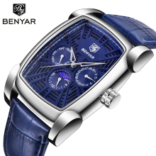 BENYAR Fashion Men Watches Top Brand Luxury Square Dial Man Sport Watch Men Leather Bracelet Relogio Masculino Montre Homme+Box цена