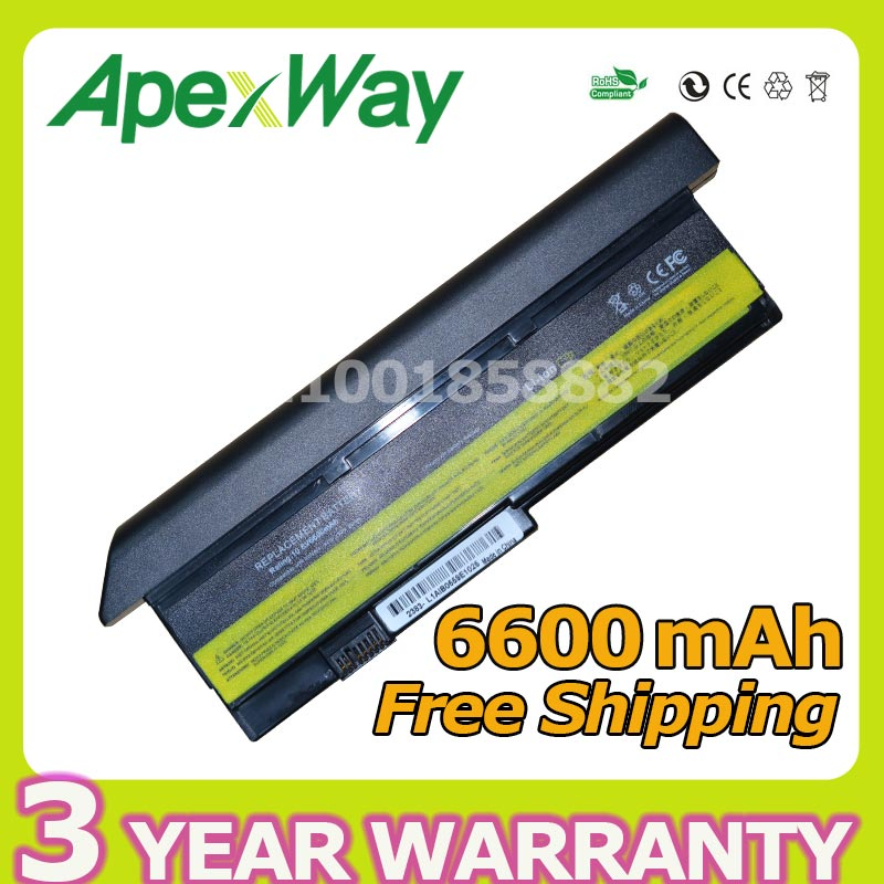 Apexway 6600mAh 9 cell Battery For Lenovo ThinkPad X200 X200s X200si X201 X201i 43R9253 43R9254 42T4650 42t4543 42T4542 42T4537 genuine new 44c9990 fru 44c9991 60 48q14 001 for lenovo thinkpad x200 x201 x201i led flex video cable
