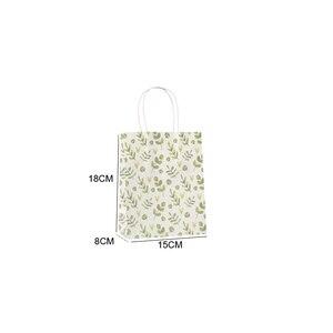 Image 5 - 50 יח\חבילה מתוק פרח מודפס קראפט נייר תיק פסטיבל מתנת שקיות נייר שקיות עם ידיות ילדי מתנת שקיות 18x15x8cm