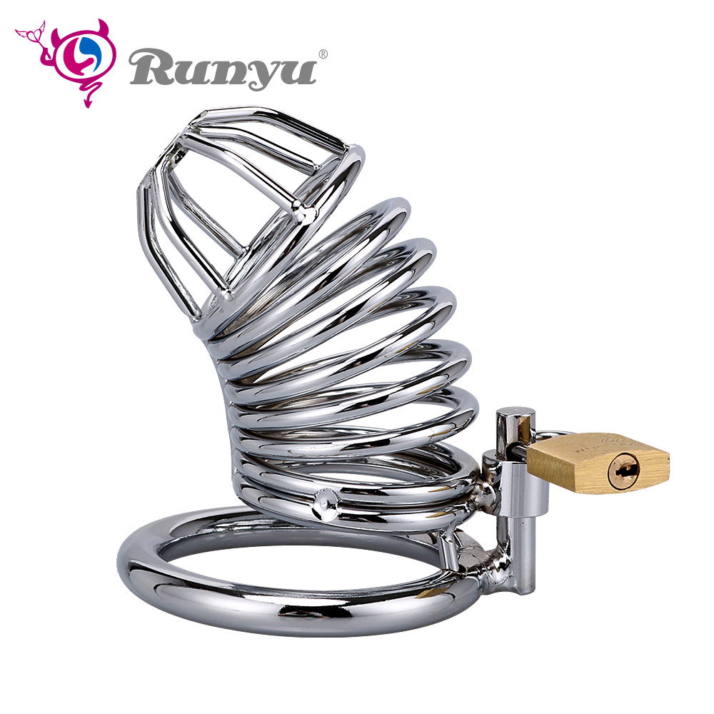 RunYu 40/45/50mm Lockable Penis Lock Stainless Steel Cock Cage Penis Metal Ring Chastity Device Tool Sex Toys For Men