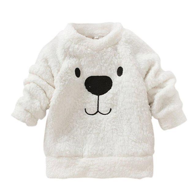 2017 Hot New Children Baby Clothing Boys Girls Lovely Bear Furry White Coat Thick Sweater Coat